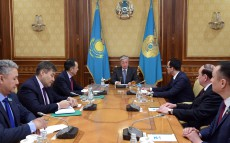 The President of Kazakhstan Kassym-Jomart Tokayev receives Maulen Ashimbayev, First Deputy Chair of Nur Otan Party, Azat Peruashev, Chairman of Ak Zhol Democratic Party of Kazakhstan, Aikyn Konurov, Secretary of the Central Committee of the Communist People's Party of Kazakhstan, and Ali Bektayev, Chair of Auyl People's Democratic Patriotic Party