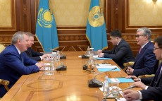 President of Kazakhstan Kassym-Jomart Tokayev receives Dmitry Rogozin, Director General of Roscosmos