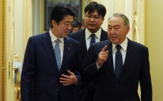 Meeting with Prime Minister of Japan Shinzo Abe, paying an official visit to Kazakhstan